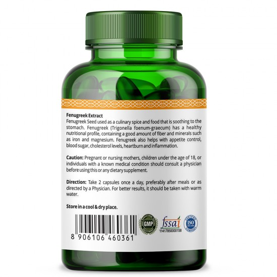 Fenugreek Seed Extract 600mg - 60 Capsules (1 Bottle)