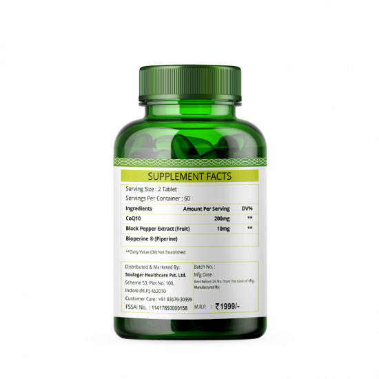 CoQ10 with Bioperine 210mg - 60 Tablets (1 Bottle)