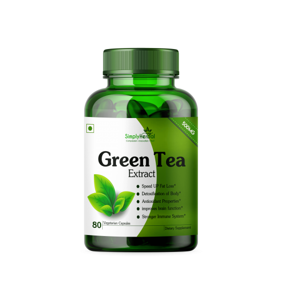 Simply Herbal Green Tea Extract Supplements (Healthy Weight Control, Boost Metabolism & Super Antioxidant ) 500mg - 80 Capsules (1 Bottle)