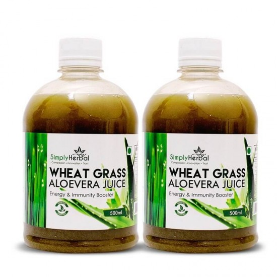 Wheatgrass With Aloe Vera Juice (Blood Purifier, Energy, Immunity Booster, Digestion and Detoxification) 500ml (2 Bottles)
