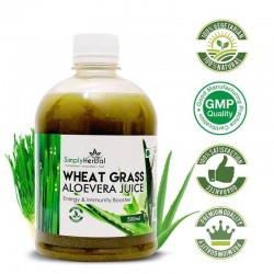 Wheatgrass With Aloe Vera Juice (Blood Purifier, Energy, Immunity Booster, Digestion and Detoxification) 500ml (1 Bottle)