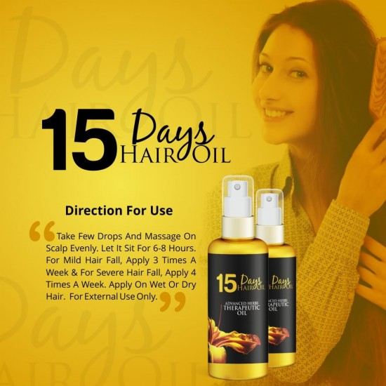Simply Herbal 15 Days Hair Oil Advanced Herbs Therapeutic Oil (Stops Hair Fall, Regrows Hair & Remove Dandruff Permanently) 100ml (1 Bottle)