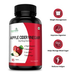 Simply Herbal Apple Cider Vinegar (Weight Management, Improve Digestion, Diabetes Support & Reduce Fatigue)- 500mg - 90 Capsules (1 Bottle)