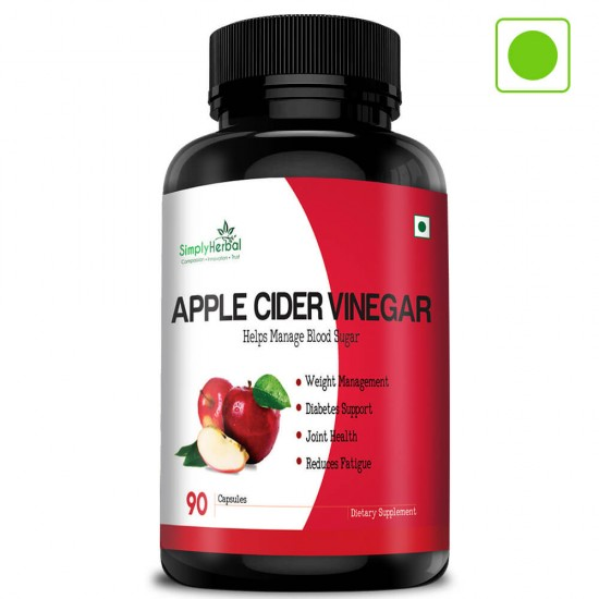 Apple Cider Vinegar (Weight Management, Improve Digestion, Diabetes Support & Reduce Fatigue)- 500mg - 90 Capsules (1 Bottle)