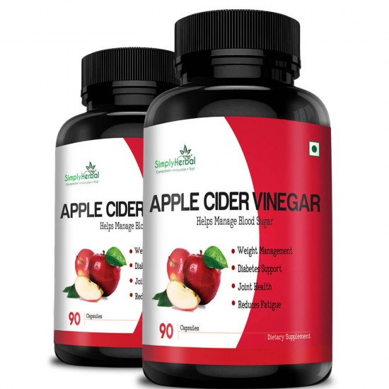 Simply Herbal Apple Cider Vinegar For Weight Management, Improve Digestion, Diabetes Support & Reduce Fatigue - 500mg - 90 Capsules (2 Bottles)