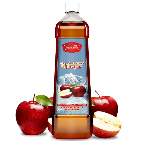 Simply Herbal Pure Apple Cider Vinegar With Mother (Weight Control, Blood Sugar, Boosts Metabolism, Digestion & Immunity) 500ml (2 Bottles)