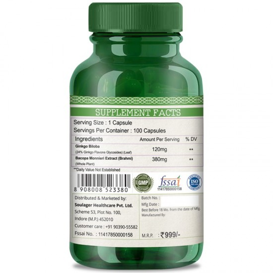 Premium Ginkgo Biloba With Brahmi Support For Cognitive Function, Memory, Focus & Clarity - 500mg - 100 Capsules (1 Bottles)
