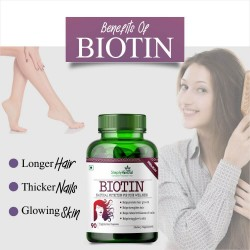 Biotin 10000mcg Enhanced with Calcium - 90 Capsules (1 Bottle)