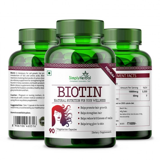 Biotin 10000mcg Enhanced with Calcium - 90 Capsules (2 Bottle)