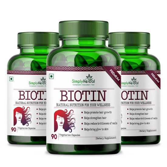 Simply Herbal Premium Biotin 10000mcg, Enhanced with Calcium (Supports Hair Growth, Glowing Skin and Strong Nails) - 90 Capsules (3 Bottles)