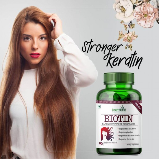 Simply Herbal Premium Biotin 10000mcg, Enhanced with Calcium (Supports Hair Growth, Glowing Skin and Strong Nails) - 90 Capsules (1 Bottle)