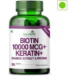 Simply Herbal Premium Biotin 10,000 Mcg+ Bamboo Extract, Keratin & Piperine 90 Capsules