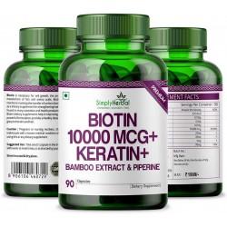 Biotin 10,000 Mcg+ Keratin+ Bamboo Extract & Piperine 90 Capsules