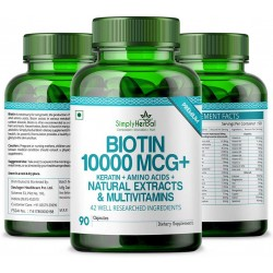 Biotin 10000 MCG + Keratin + Amino Acids + Natural Extract & Multivitamins