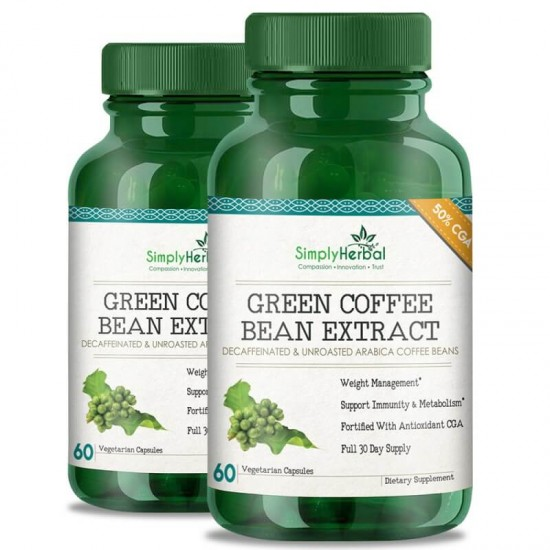 Green Coffee Bean Extract (Weight Loss, Fat Burn, Appetite Suppressant & Boosts Metabolism) 50% CGA - 800mg - 60 Capsules (2 Bottles)