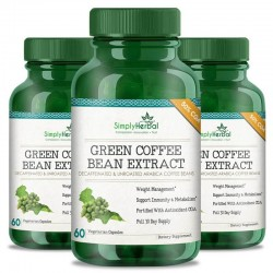 Simply Herbal Green Coffee Bean Extract (Weight Loss, Fat Burn, Appetite Suppressant & Boosts Metabolism) 50% CGA - 800mg - 60 Capsules (3 Bottles)