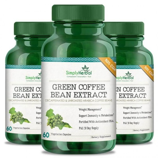 Simply Herbal Green Coffee Bean Extract (Weight control, Appetite Suppressant & Boosts Metabolism) 50% CGA - 800mg - 60 Capsules (3 Bottles)