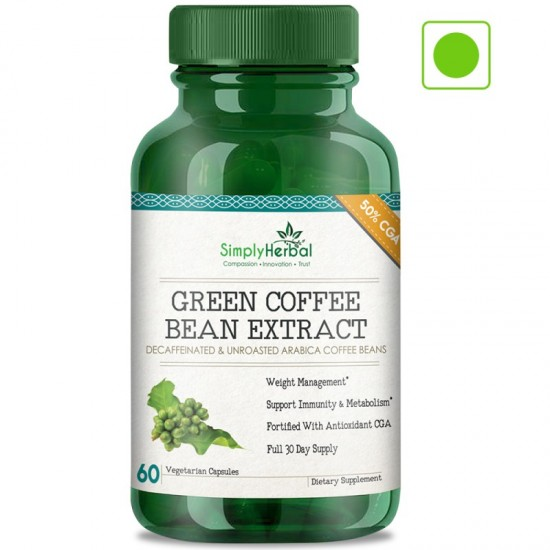 Simply Herbal Green Coffee Bean Extract (Weight Control, Extra Weight Reduction, Appetite Suppressant & Boosts Metabolism) 50% CGA - 800mg - 60 Capsules (1 Bottle)