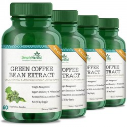 Simply Herbal Green Coffee Bean Extract (Weight Control,Appetite Suppressant & Boosts Metabolism) 50% CGA - 800mg - 60 Capsules (4 Bottles)