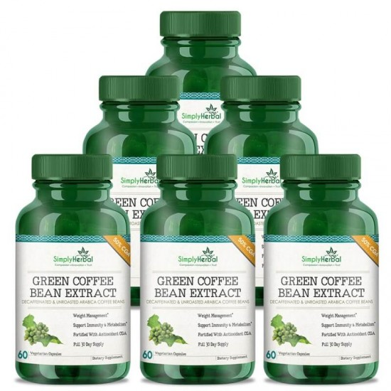Green Coffee Bean Extract (Weight Loss, Fat Burn, Appetite Suppressant & Boosts Metabolism) 50% CGA - 800mg - 60 Capsules (6 Bottles)