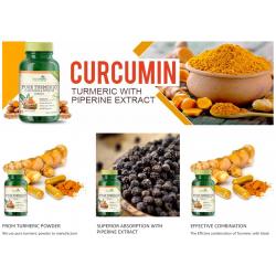 Pure Turmeric Curcumin & Piperine Extract 800mg - 60 Capsules (2 Bottles)