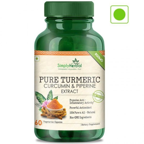 Pure Turmeric Curcumin & Piperine Extract 800mg - 60 Capsules (1 Bottle)