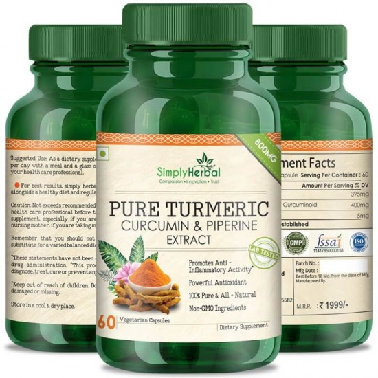 Pure Turmeric Curcumin Extract With Piperine (Anti-inflammatory & Healthy Joints) - 800mg - 60 Capsules (1 Bottles)