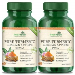 Simply Herbal Pure Turmeric Curcumin Extract With Piperine (Anti-inflammatory & Healthy Joints) - 800mg - 60 Capsules (2 Bottles)