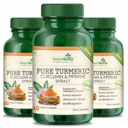 Simply Herbal Pure Turmeric Curcumin Extract With Piperine (Anti-inflammatory & Healthy Joints) - 800mg - 60 Capsules (3 Bottles)