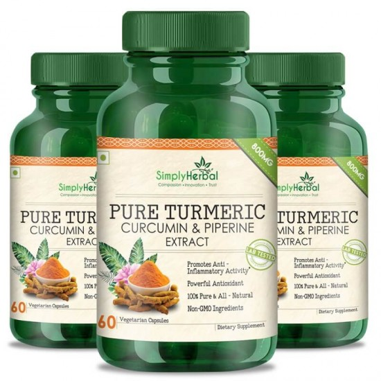Pure Turmeric Curcumin Extract With Piperine (Anti-inflammatory & Healthy Joints) - 800mg - 60 Capsules (3 Bottles)