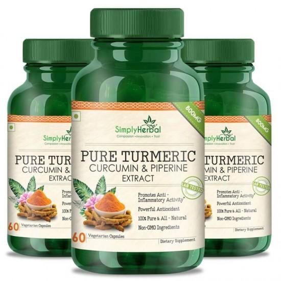 Pure Turmeric Curcumin & Piperine Extract 800mg - 60 Capsules (3 Bottles)
