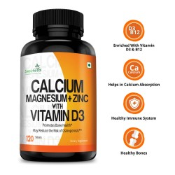 Calcium, Magnesium, Zinc, Vitamin D3 & B12 (Bone Health, Healthy Immune System) - 1000mg - 120 Tablets (1 Bottles)