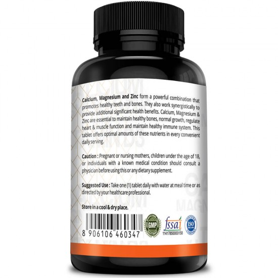 Simply Herbal Calcium, Magnesium, Zinc, Vitamin D3 & B12 (Bone Health, Healthy Immune System) - 1000mg - 120 Tablets (1 Bottle)