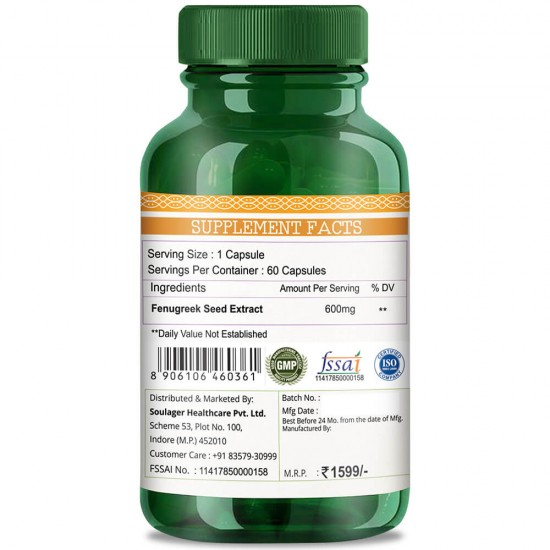 Simply Herbal Premium Fenugreek Seed Extract - Supports Healthy Blood Sugar & Digestive Health- 600mg - 60 Capsules (1 Bottle)
