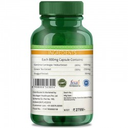 Premium Garcinia Cambogia (80% HCA With Green Tea & Guggul Extract) Weight Loss & Fat Burn - 800mg - 60 Capsules (4 Bottles)