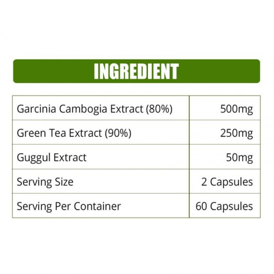 Premium Garcinia Cambogia (80% HCA With Green Tea & Guggul Extract) Weight Loss & Fat Burn - 800mg - 60 Capsules (1 Bottles)