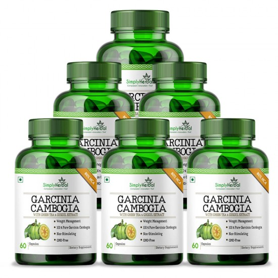 Premium Garcinia Cambogia (80% HCA With Green Tea & Guggul Extract) Weight Loss & Fat Burn - 800mg - 60 Capsules (6 Bottles)