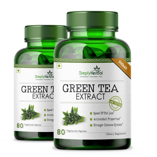 Green Tea Extract Supplements 500mg - 80 Capsules (2 Bottles)