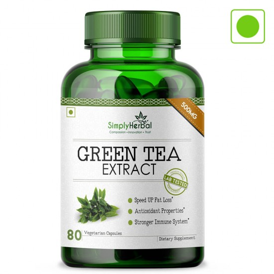 Green Tea Extract Supplements 500mg - 80 Capsules (3 Bottles)