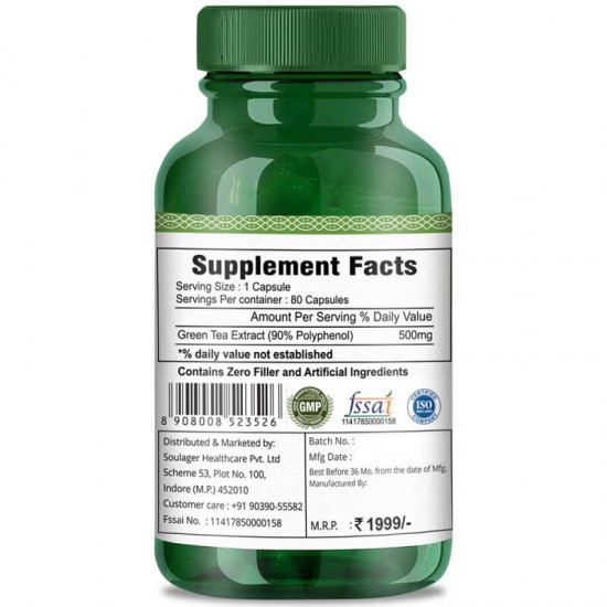 Simply Herbal Green Tea Extract Supplements (Healthy Weight Control, Boost Metabolism & Super Antioxidant ) 500mg - 80 Capsules (3 Bottles)