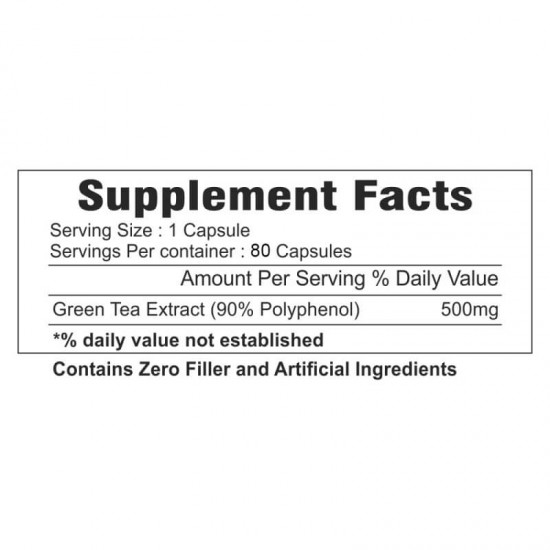 Green Tea Extract Supplements (Healthy Weight Loss, Boost Metabolism & Super Antioxidant ) 500mg - 80 Capsules (1 Bottles)