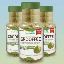 Grooffee - Green Coffee Powder with Cinnamon, Black Pepper, Amla & Cardamom - Vanilla and Lemon Flavour (3 Bottles)