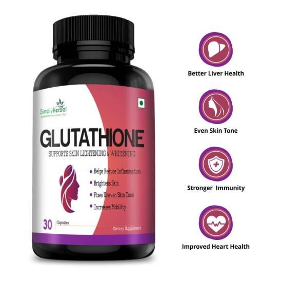 Glutathione Skin Lightening Whitening Supplement Capsules - 1000mg - 30 Capsules (1 Bottles)