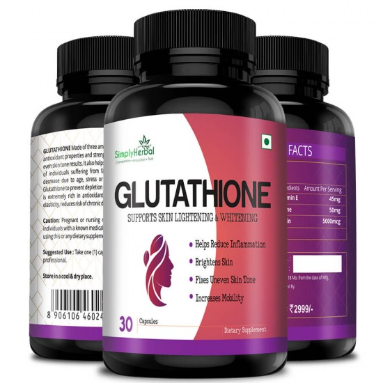 Glutathione Skin Lightening Whitening Supplement Capsules - 1000mg - 30 Capsules (2 Bottles)