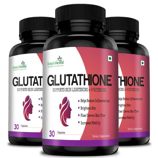 Simply Herbal Glutathione Skin glowing Supplement Capsules - 1000mg - 30 Capsules (3 Bottles)