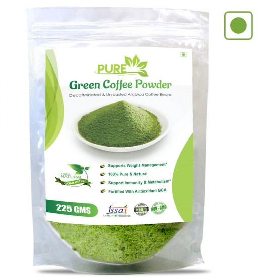 Simply Herbal Pure Green Coffee Beans Powder with Fortified Antioxidant GCA For Best Natural Weight Loss And Belly Fat Burner - 225gms (1 Pack)