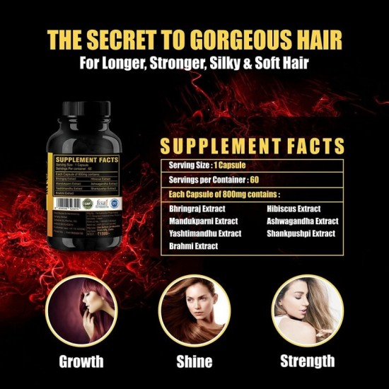 Simply Herbal Hair Grow - With Bhringraj, Hibiscus, Brahmi, Ashwagandha & More (Natural Hair Growth and Reduced Hair Loss) - 800mg - 60 Capsules (2 Bottles)