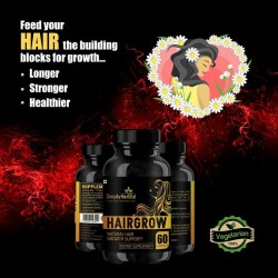 Hair Grow - With Bhringraj, Hibiscus, Brahmi, Ashwagandha & More (Natural Hair Growth and Reduced Hair Loss) - 800mg - 60 Capsules (1 Bottles)