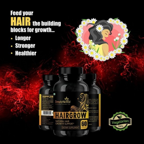 Hair Grow - With Bhringraj, Hibiscus, Brahmi, Ashwagandha & More (Natural Hair Growth and Reduced Hair Loss) - 800mg - 60 Capsules (3 Bottles)