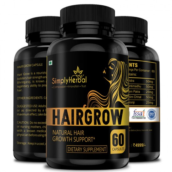 Simply Herbal Hair Grow - With Bhringraj, Hibiscus, Brahmi, Ashwagandha & More (Natural Hair Growth and Reduced Hair Damage) - 800mg - 60 Capsules (3 Bottles)
